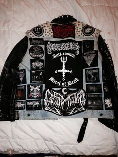 Super Duper Black Metal Trooper Vest With True Norwegian Leather Jacket Combat Jacket, Battle Jacket, Vest Jacket, Black Metal, Leather Sleeve Jacket, Punk Jackets, Custom Patches, Death Metal, Grunge Outfits