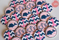 Whales, anchors, chevron and monogrammed 1st birthday cookies