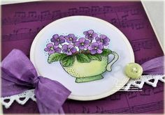 Copic Tutorial Violets in a Teacup card designed by Debbie Olson Copic Colors, Tea Riffic, Color Of The Day, Coffee Cards, Colouring Techniques, Copics, Copic Markers, Teaching Art, Cool Cards