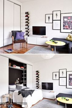 What a stylish Murphy bed! It just looks like an average closet. Modern Small Apartment Design, Small Apartment Interior, Small Apartments, Small Spaces, Studio Apartments, Murphy Bed Desk, Murphy Bed Plans, Murphy Beds, New York Studio Apartment