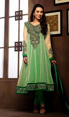 Karisma Kapoor Green and Beige Net Anarkali Suit Price: Usa Dollar $74, British UK Pound £44, Euro55, Canada CA$80 , Indian Rs3996.
