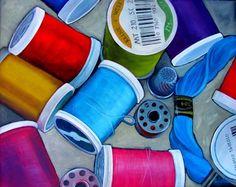 Wendy Westlake ~ spools of thread watercolor art