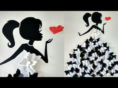 DIY Room decor ideas/Making girl with flower dress/Wall decor with flower/Flower girl Butterfly Room, Butterfly Wall Decor, Butterfly Decorations, Butterfly Dress, Room Decorations, Wall Hanging Crafts, Diy Wall Art, Diy Wall Decor, Baby Decor