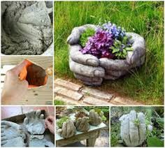 Image result for planter pots cement and rags