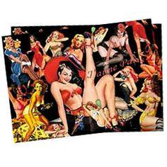 """Sets de Table papier """"Pin-up"""" (x40), spécial Réveillon - 15 € (+ 6,90€ frais de livraison Colissimo en France métro) - mailto:contact@sktv.fr"""