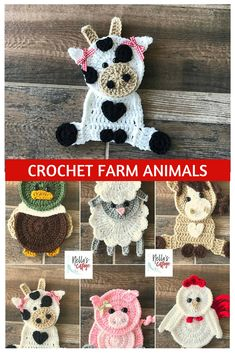 these little crochet farm animal applique patterns are just ADORABLE! the little pig and the cow and duck are my faves! awesome. #crochetanimals #crochetfarmanimals #crochetappliques #crochetpig #crochetcow #crochetduck #crochethorse #crochetchicken #affiliate #crochetanimalpatterns