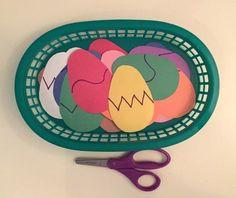 Easter Fun in the Preschool Classroom - Scissor Work, cutting Easter Eggs