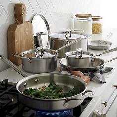 All-Clad® Stainless 10-Piece Cookware Set with Bonus I Crate and Barrel