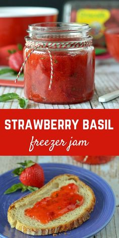 Strawberry Basil Freezer Jam via @rachelcooksblog