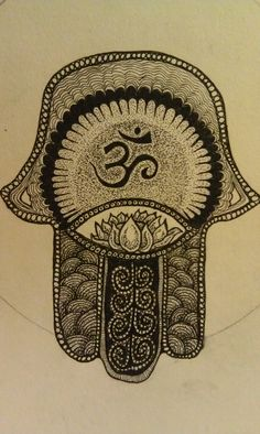 Hand of Fatima: like the Om symbol and the dot shading
