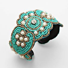 Boho Turquoise & Gold Pearl Rhinestone Seed Beaded Flexible Wire Bangle Bracelet #GingasGalleria #Statement