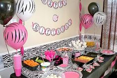 Zebra and pink party food table