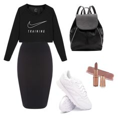 """all black + white sneakers ❤️"" by mirela-catarina on Polyvore featuring moda, NIKE, Reebok e Witchery"