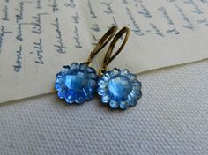 Blue Sunflower Vintage Glass Dangle Earrings by ColorFields, $14.00