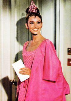Audrey Hepburn a vision in pink.