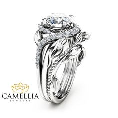 Moissanite Leaf Engagement Ring Set Moissanite by CamelliaJewelry
