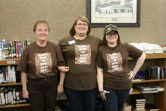 Reading makes me happy happy happy library shirts I made for us to wear at the duck dynasty party.