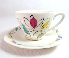 Retro Mid Century Midwinter 'Harmony' Duo Scrolling Calligraphic Pattern Demitasse Cup & Saucer by keepsies on etsy £16.00
