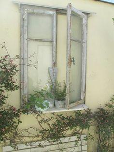 ...haben wir nun mit einem alten Fenster, das wir an die Garagenwand unserer Nachbarn gehängt haben. Das schöne alte Fe...