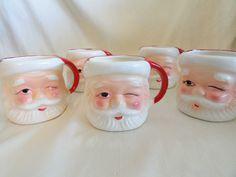 Vintage Santa coco mugs  christmas drink ware. $29.97, via Etsy.