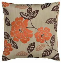 This floral-patterned taupe and burnt orange throw pillow will give your sofa, loveseat or chair a flowery finishing touch. Plus, its neutral taupe background helps it pair with a variety of color combinations.