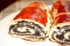 Baigli – bejgli – unguresc cu mac si cu nuca by Malina Mac, Sushi, Deserts, Pork, Advertising, Ethnic Recipes, Kale Stir Fry, Postres, Dessert