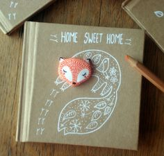 "Carnet ""Home sweet home"" oMamaWolf illustration et porcelaine froide : Carnets, agendas par omamawolf"