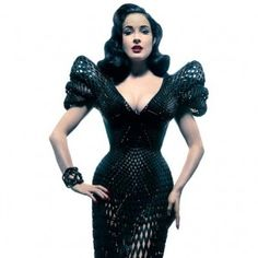 3D Printing Hits The Fashion World - Dita Von Teese shows off her 3D printed dress, by Bitonti and Schmidt.