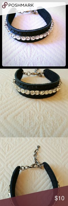 Rocker Chic Bling Handmade by IMHF CREATIONS.  This cute little leather bracelet has a row of rhinestones and will small to large wrists with the expanding lobster claw style clasp. Jewelry Bracelets