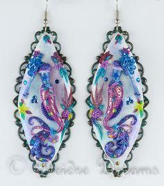 Mermaid Earrings, Beach Earrings, Mermaid Jewelry, Mermaid Art, Boho Earrings, Ocean Jewelry Beach Jewelry Polymer Clay Jewelry Gift for Her