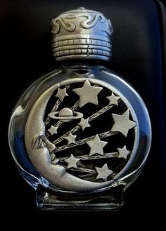 *vintage Perfume Bottle JJ Jonette Moon Stars pewter
