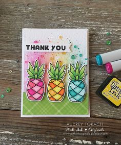 Paper Smooches Pineapple Crush Thank You Card by Audrey Tokach