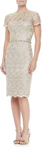 David Meister Brown Shortsleeve Lace Beaded Cocktail Dress