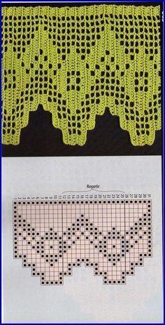 Risultati immagini per miria croches e pinturas Crochet Boarders, Crochet Lace Edging, Crochet Flower Patterns, Crochet Trim, Love Crochet, Crochet Doilies, Crochet Baby, Filet Crochet, Crochet Chart