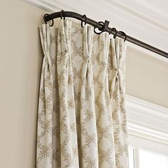 "draperies hang on iron rods that return to the wall. ""The absence of bulky finials achieves a clean, updated look,""Iron Curtain Rod - Stylish, Traditional yet Family-Friendly Decorating - Southern Living Hanging Drapes, French Country Living Room, Decor, Window Coverings, House, Curtains, Home, Interior, Home Decor"
