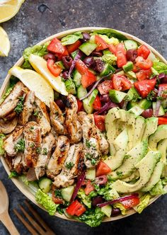 GRILLED LEMON HERB MEDITERRANEAN CHICKEN SALAD http://recipes-only.com/grilled-lemon-herb-mediterranean-chicken-salad/