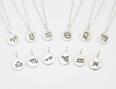 Zodiac Disc Necklace - Sterling Silver Personalized Jewelry - Astrology Signs on Etsy, $29.00