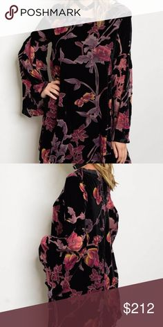 Black velvet dress with floral print New!  Long bell sleeve velvet and floral print ruffle dress. Floral print is a sheer material dress is black velvet HVHOUSEWIFE Dresses