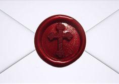 Red Wax Seal Cross on Envelope - Premium Wax Seals