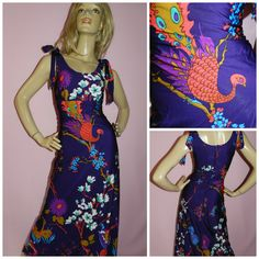 Vintage 70s Purple/Multicoloured NOVELTY PEACOCK PSYCHEDELIC print maxi dress 8 S 1970s Vera Mont Paris Art Nouveau Kitsch by HoneychildLoves on Etsy