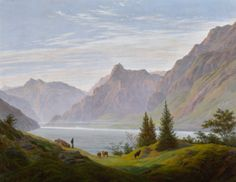 """Caspar David Friedrich (German, """"Landschaft mit gebirgsee, Morgen/Landscape with mountain lake, Morning"""" Oil on canvas, x 93 cm Private collection Caspar David Friedrich Paintings, Casper David, Spiritual Eyes, Tate Gallery, Cleveland Museum Of Art, European Paintings, Book Of Life, Landscape Paintings, Landscapes"""