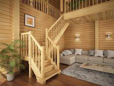 Лестница в деревянном доме со вторым светом