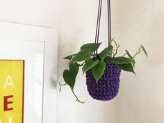Macrame Style Plant Hanger, Vertical Planter, Plant Decor, Plant Hanger, Garden Accessories, Home Decor, Knitted Pot, Purple Plant Cover by knitknotsupplyco on Etsy https://www.etsy.com/listing/474377352/macrame-style-plant-hanger-vertical