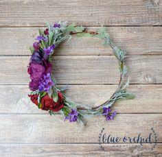 Boho Wedding, Boho Flower Crown, Flower Crown, Flower Crown Ideas, Silk Flower Crown, Wedding Flower Crown, Purple, Marsala, Purple Crown, Wine Colored Wedding by blueorchidcreations on Etsy