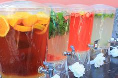 Yummy mocktails for non-boozy (but very cool) wedding drink alternatives.just add booze Party Drinks, Fun Drinks, Yummy Drinks, Alcoholic Beverages, Non Alcoholic Drinks For Wedding, Fruity Drinks, Mixed Drinks, Healthy Drinks, Virgin Drinks
