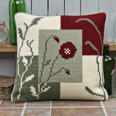 Details about Twilleys ~ Large Count Cross Stitch Cushion Front Kit ~ Mosaic Poppy ~ Cross Stitch For Kids, Cross Stitch Art, Cross Stitch Borders, Counted Cross Stitch Kits, Cross Stitch Flowers, Cross Stitch Designs, Cross Stitch Embroidery, Embroidery Patterns, Cross Stitch Patterns