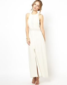 Jarlo Millie High Neck Maxi Dress with Lace Insert