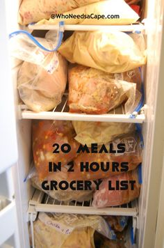 20 meals freezer cooking grocery list