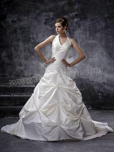 A-Line With Halter V-Neck Wedding Dress