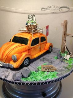 VW Beetle 50th Birthday Cake 50th Birthday, Birthday Cake, Fab Cakes, Paper Crafts, Diy Crafts, Vw Beetles, Celebration Cakes, Custom Cakes, Spoon